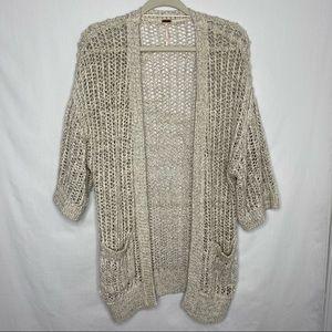 Free People loose knit open cardigan short sleeve